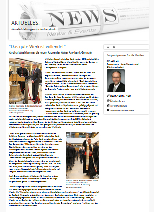 Beitrag auf pax-bank.de vom 13. Januar 2015